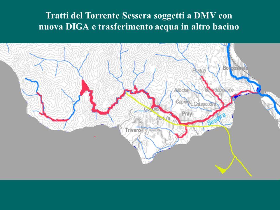 Tratti del Torrente Sessera soggetti a DMV con nuova DIGA e trasferimento acqua in altro bacino