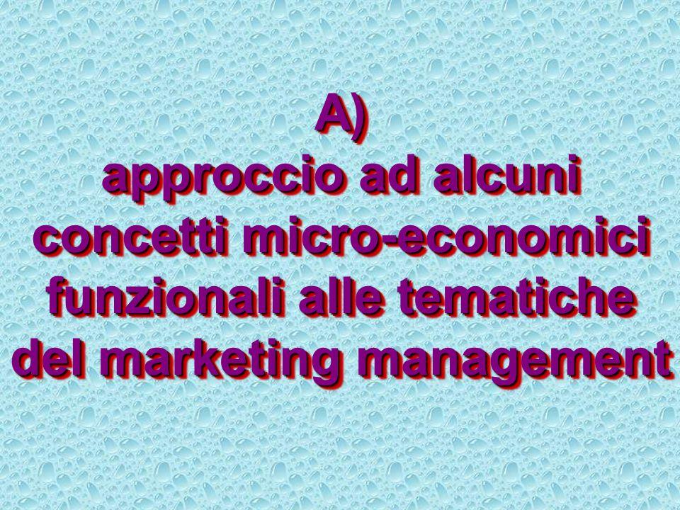 A) approccio ad alcuni concetti micro-economici funzionali alle tematiche del marketing management