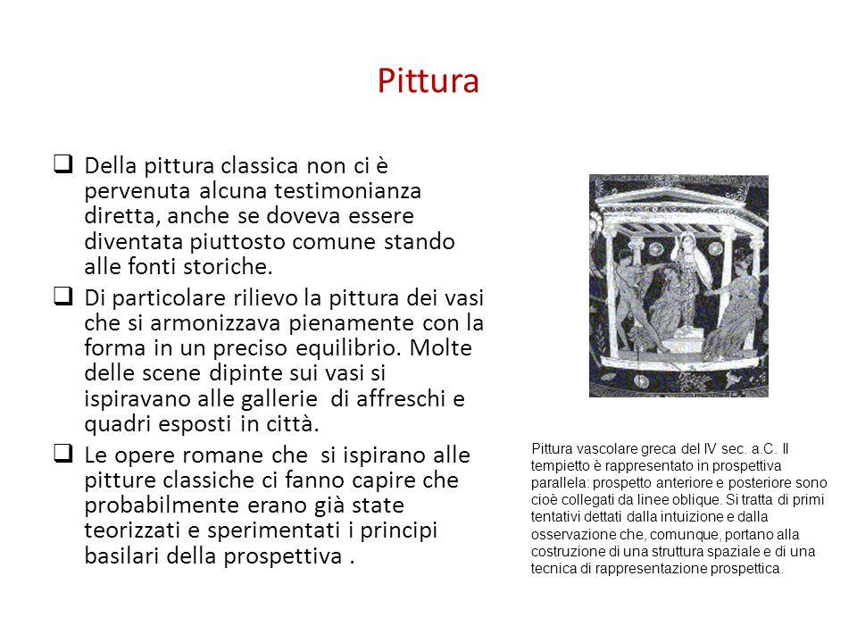 Pittura Della pittura classica non ci è pervenuta alcuna testimonianza diretta, anche se doveva essere diventata piuttosto comune stando alle fonti st