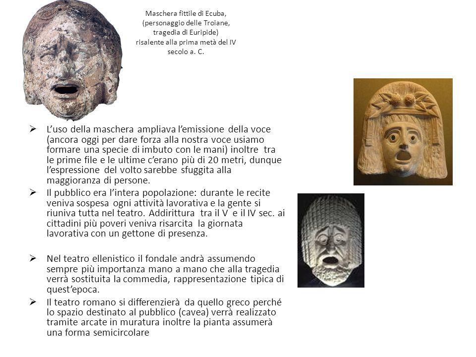 Maschera fittile di Ecuba, (personaggio delle Troiane, tragedia di Euripide) risalente alla prima metà del IV secolo a. C. Luso della maschera ampliav