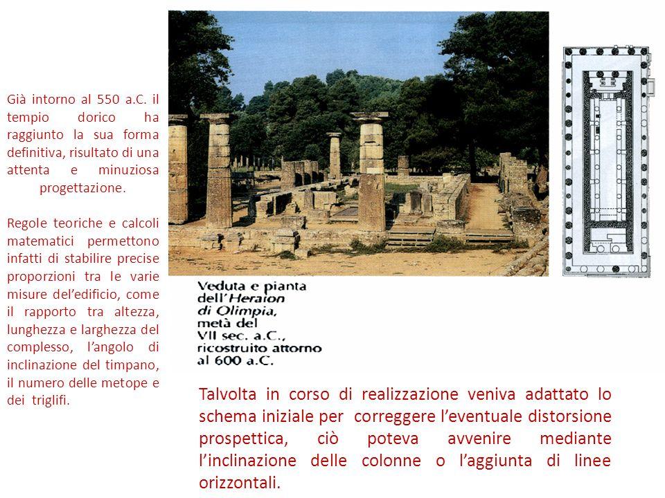 Già intorno al 550 a.C. il tempio dorico ha raggiunto la sua forma definitiva, risultato di una attenta e minuziosa progettazione. Regole teoriche e c