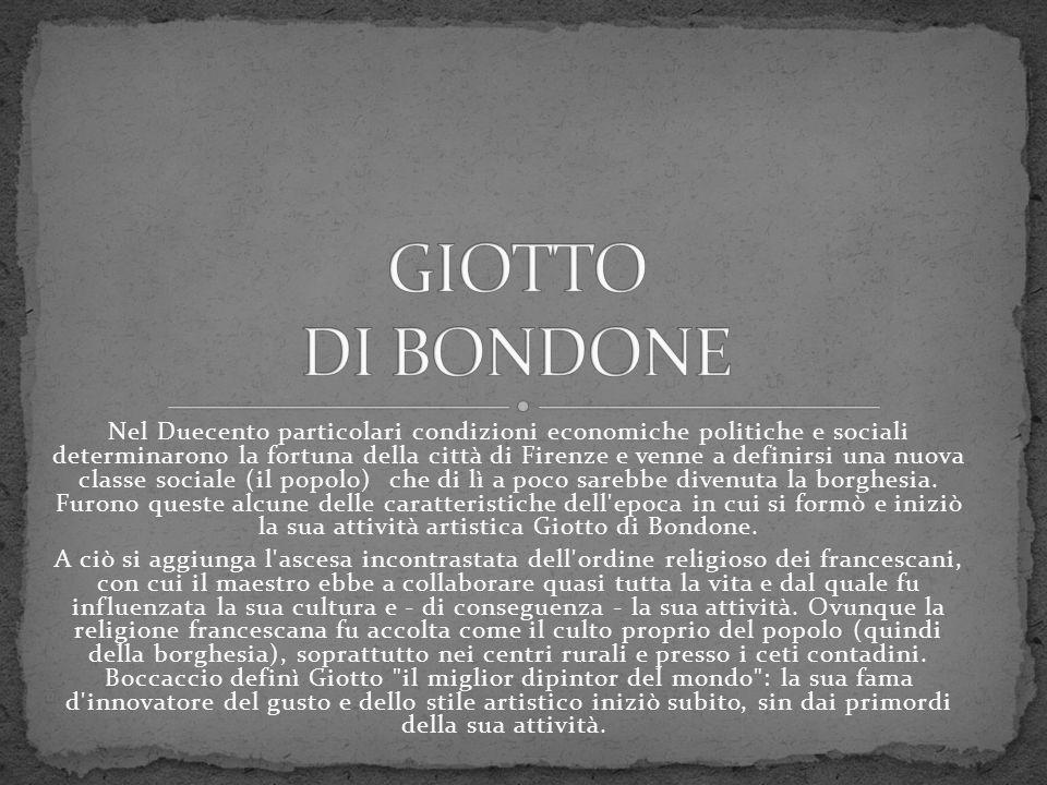 Nel Duecento particolari condizioni economiche politiche e sociali determinarono la fortuna della città di Firenze e venne a definirsi una nuova class
