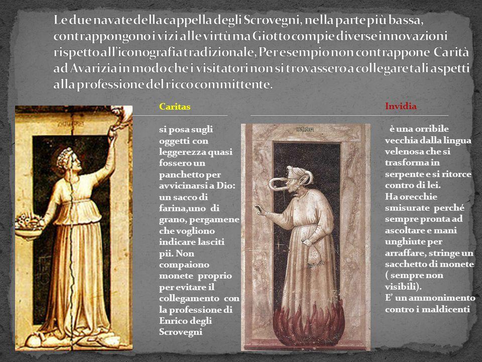 Caritas si posa sugli oggetti con leggerezza quasi fossero un panchetto per avvicinarsi a Dio: un sacco di farina,uno di grano, pergamene che vogliono