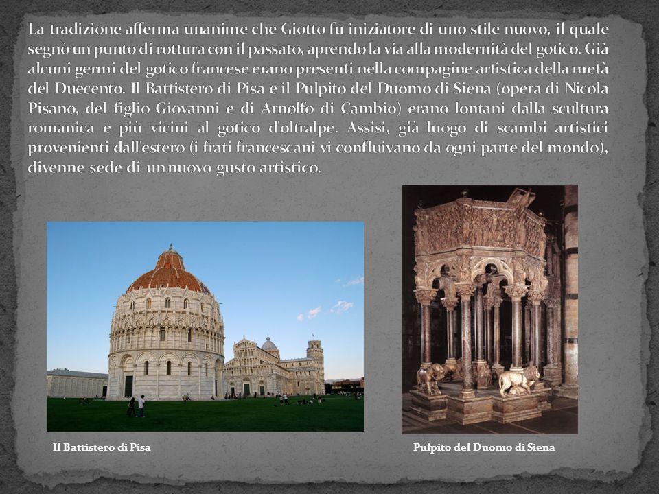 Le prime esperienze artistiche di Giotto oscillarono tra il neo-romanico e il gotico, spesso sottintendendo una base classica.