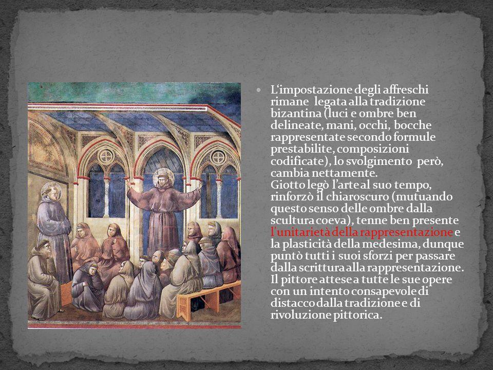 Limpostazione degli affreschi rimane legata alla tradizione bizantina (luci e ombre ben delineate, mani, occhi, bocche rappresentate secondo formule p