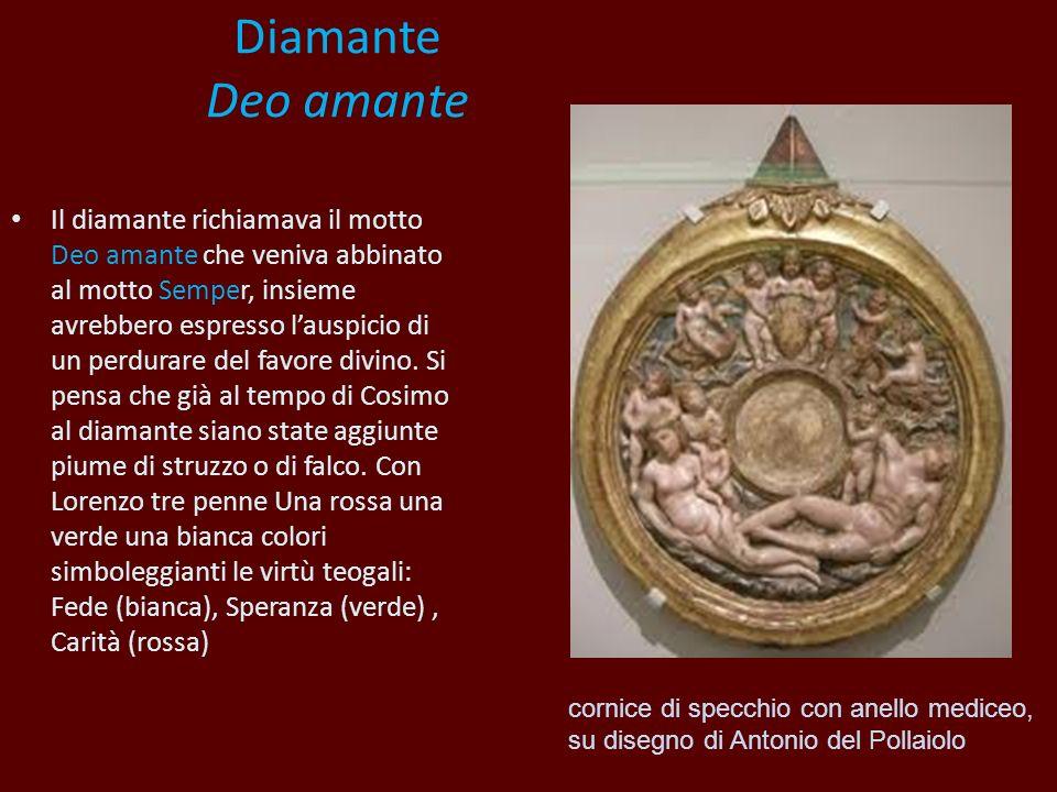 Diamante Deo amante Il diamante richiamava il motto Deo amante che veniva abbinato al motto Semper, insieme avrebbero espresso lauspicio di un perdura