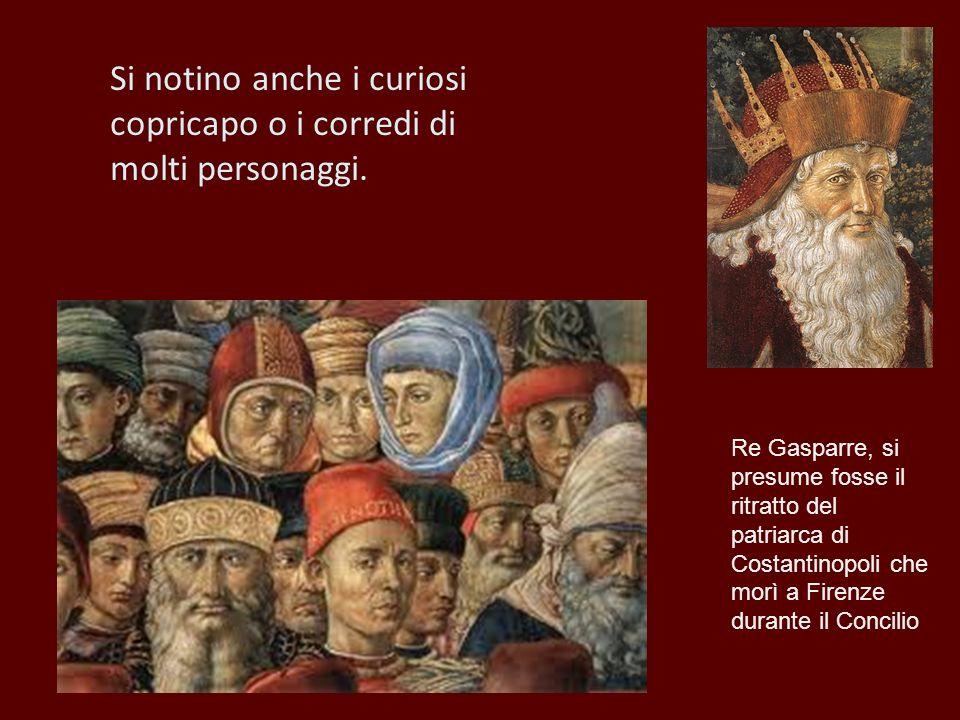 Si notino anche i curiosi copricapo o i corredi di molti personaggi. Re Gasparre, si presume fosse il ritratto del patriarca di Costantinopoli che mor
