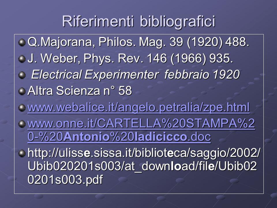 Riferimenti bibliografici Q.Majorana, Philos. Mag. 39 (1920) 488. J. Weber, Phys. Rev. 146 (1966) 935. Electrical Experimenter febbraio 1920 Electrica