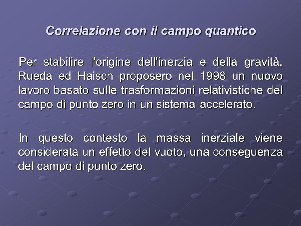 Correlazione con il campo quantico Per stabilire l'origine dell'inerzia e della gravità, Rueda ed Haisch proposero nel 1998 un nuovo lavoro basato sul