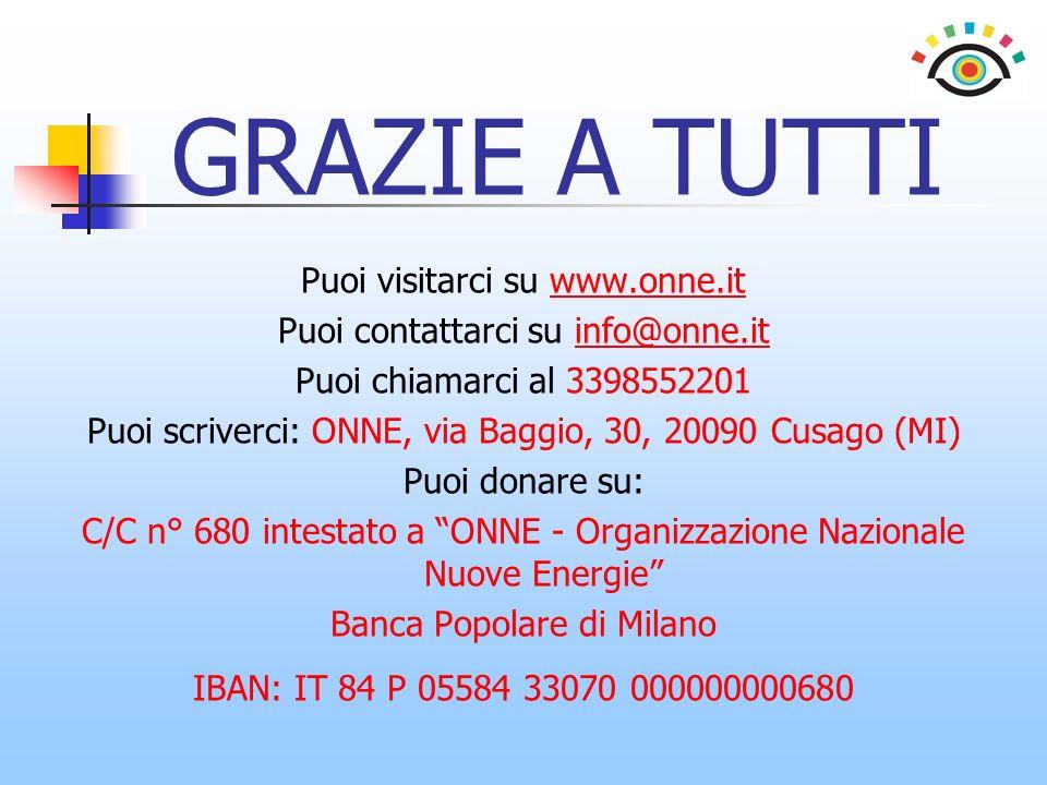 GRAZIE A TUTTI Puoi visitarci su www.onne.itwww.onne.it Puoi contattarci su info@onne.itinfo@onne.it Puoi chiamarci al 3398552201 Puoi scriverci: ONNE, via Baggio, 30, 20090 Cusago (MI) Puoi donare su: C/C n° 680 intestato a ONNE - Organizzazione Nazionale Nuove Energie Banca Popolare di Milano IBAN: IT 84 P 05584 33070 000000000680