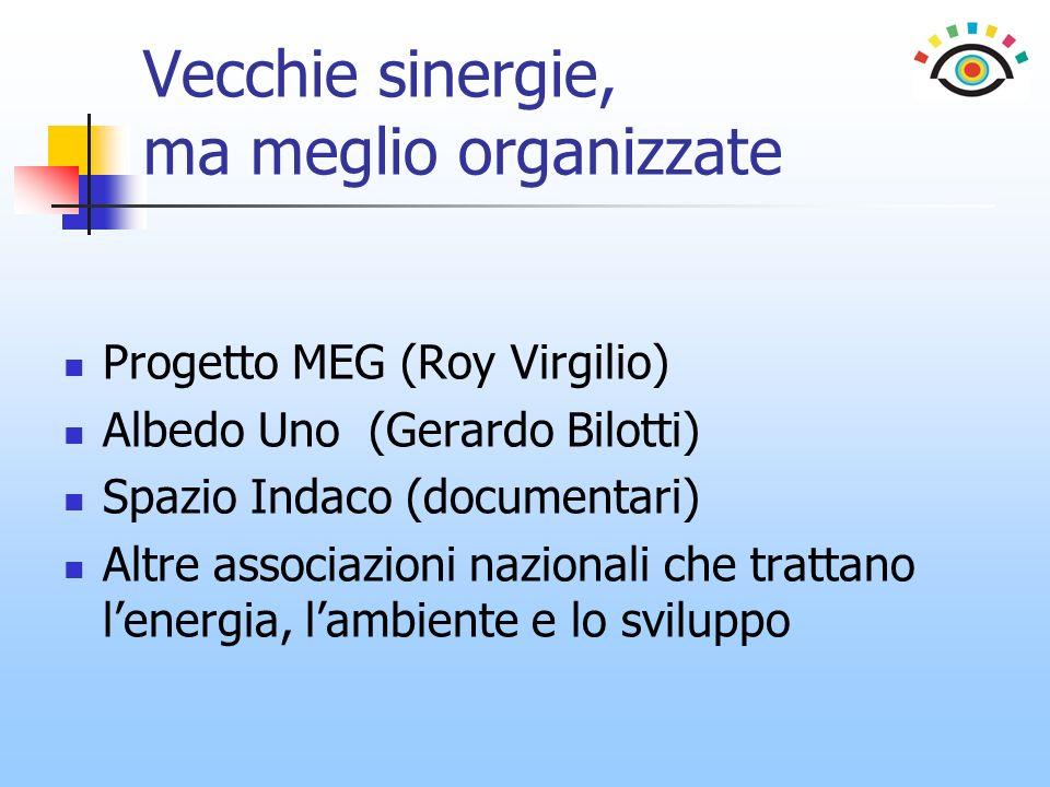 Vecchie sinergie, ma meglio organizzate Progetto MEG (Roy Virgilio) Albedo Uno (Gerardo Bilotti) Spazio Indaco (documentari) Altre associazioni nazionali che trattano lenergia, lambiente e lo sviluppo
