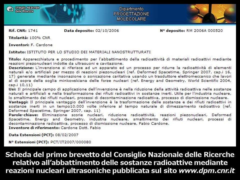 Scheda del primo brevetto del Consiglio Nazionale delle Ricerche relativo allabbattimento delle sostanze radioattive mediante reazioni nucleari ultras