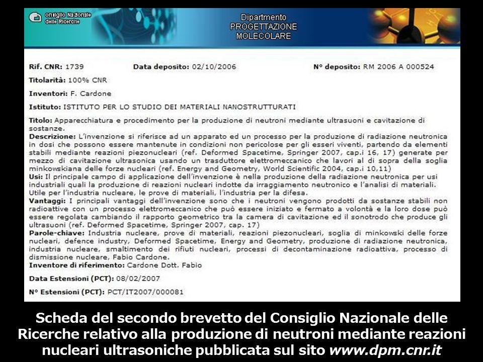 Scheda del secondo brevetto del Consiglio Nazionale delle Ricerche relativo alla produzione di neutroni mediante reazioni nucleari ultrasoniche pubbli