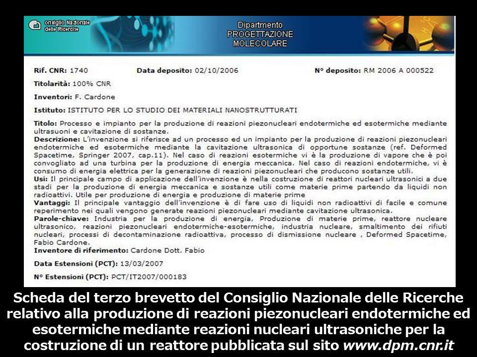 Scheda del terzo brevetto del Consiglio Nazionale delle Ricerche relativo alla produzione di reazioni piezonucleari endotermiche ed esotermiche median