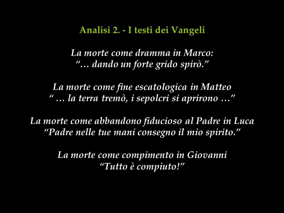 Analisi 2. - I testi dei Vangeli La morte come dramma in Marco: … dando un forte grido spirò.