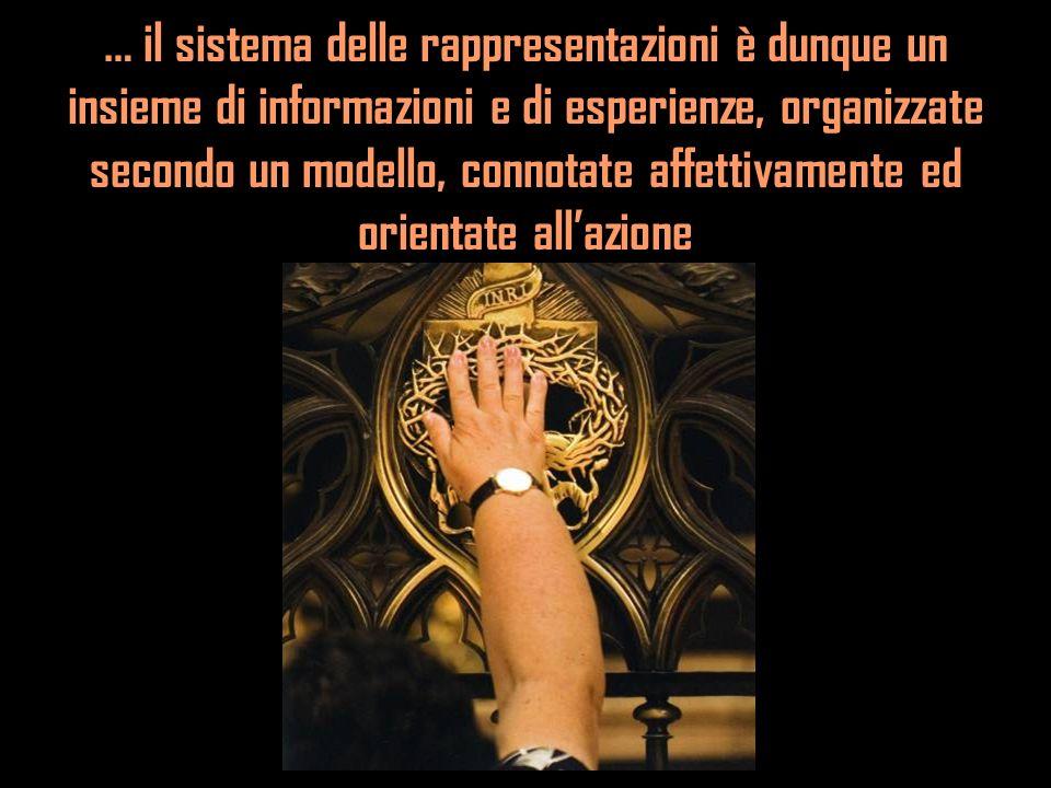 … il sistema delle rappresentazioni è dunque un insieme di informazioni e di esperienze, organizzate secondo un modello, connotate affettivamente ed o