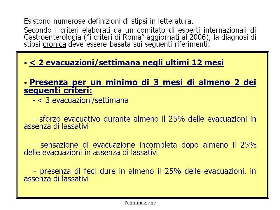 8a unità didattica: la nutrizione e l'eliminazione 11 Esistono numerose definizioni di stipsi in letteratura. Secondo i criteri elaborati da un comita