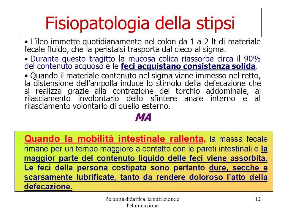 8a unità didattica: la nutrizione e l'eliminazione 12 Fisiopatologia della stipsi Lileo immette quotidianamente nel colon da 1 a 2 lt di materiale fec