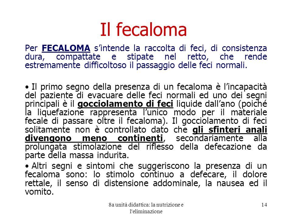 8a unità didattica: la nutrizione e l'eliminazione 14 Il fecaloma Per FECALOMA sintende la raccolta di feci, di consistenza dura, compattate e stipate