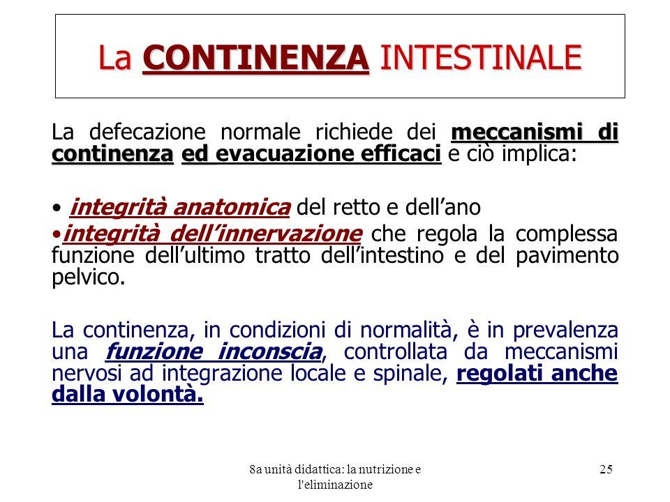 8a unità didattica: la nutrizione e l'eliminazione 25 La CONTINENZA INTESTINALE meccanismi di continenzaed La defecazione normale richiede dei meccani