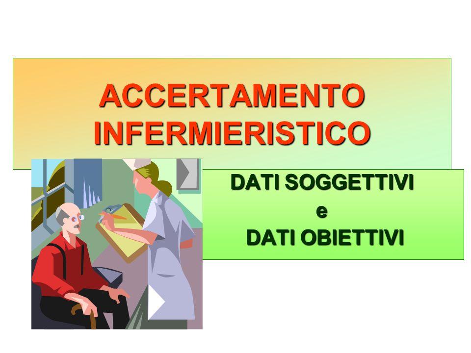 ACCERTAMENTO INFERMIERISTICO DATI SOGGETTIVI e DATI OBIETTIVI DATI OBIETTIVI