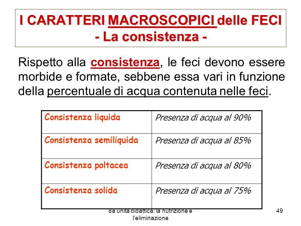 8a unità didattica: la nutrizione e l'eliminazione 49 I CARATTERI MACROSCOPICI delle FECI - La consistenza - Rispetto alla consistenza, le feci devono
