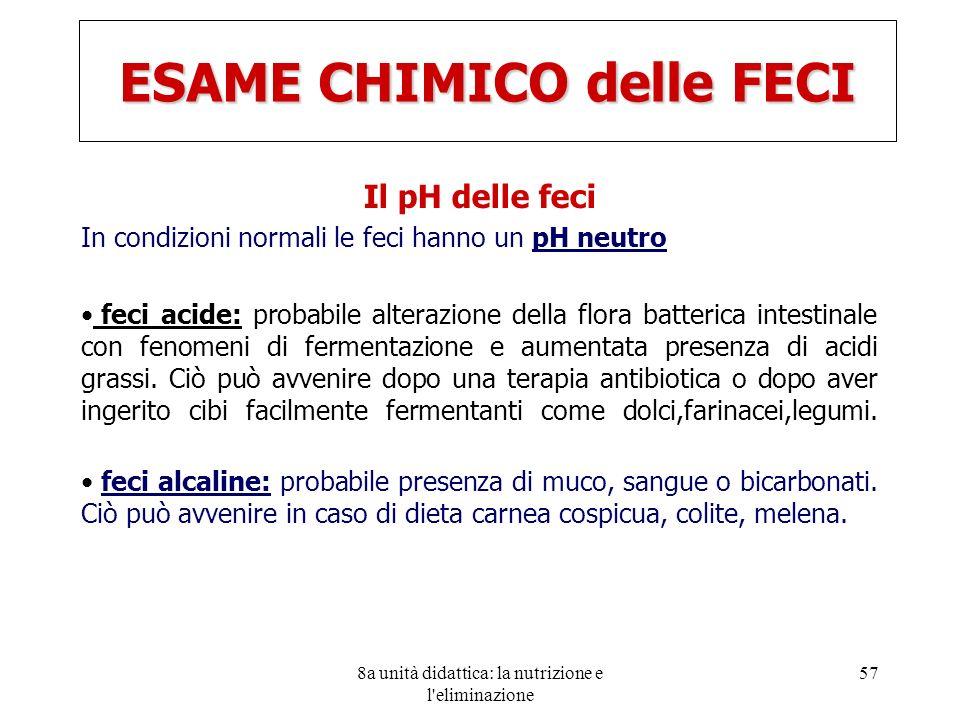 8a unità didattica: la nutrizione e l'eliminazione 57 ESAME CHIMICO delle FECI Il pH delle feci In condizioni normali le feci hanno un pH neutro feci