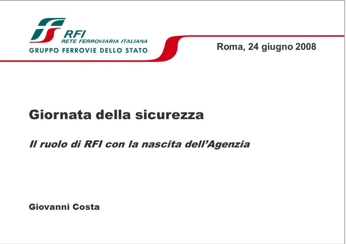 Giornata della sicurezza Il ruolo di RFI con la nascita dellAgenzia Giovanni Costa Roma, 24 giugno 2008