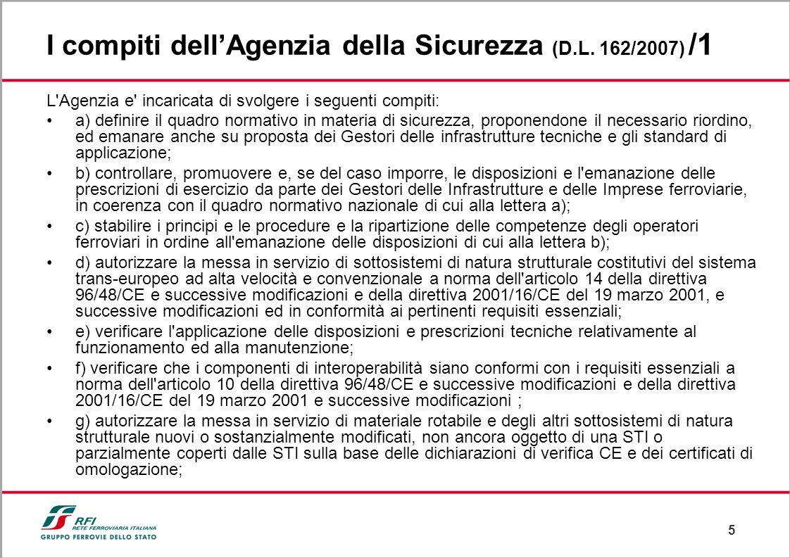 5 I compiti dellAgenzia della Sicurezza (D.L. 162/2007) /1 L'Agenzia e' incaricata di svolgere i seguenti compiti: a) definire il quadro normativo in
