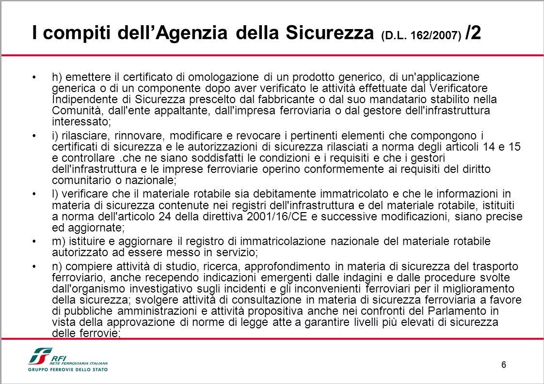 6 I compiti dellAgenzia della Sicurezza (D.L. 162/2007) /2 h) emettere il certificato di omologazione di un prodotto generico, di un'applicazione gene