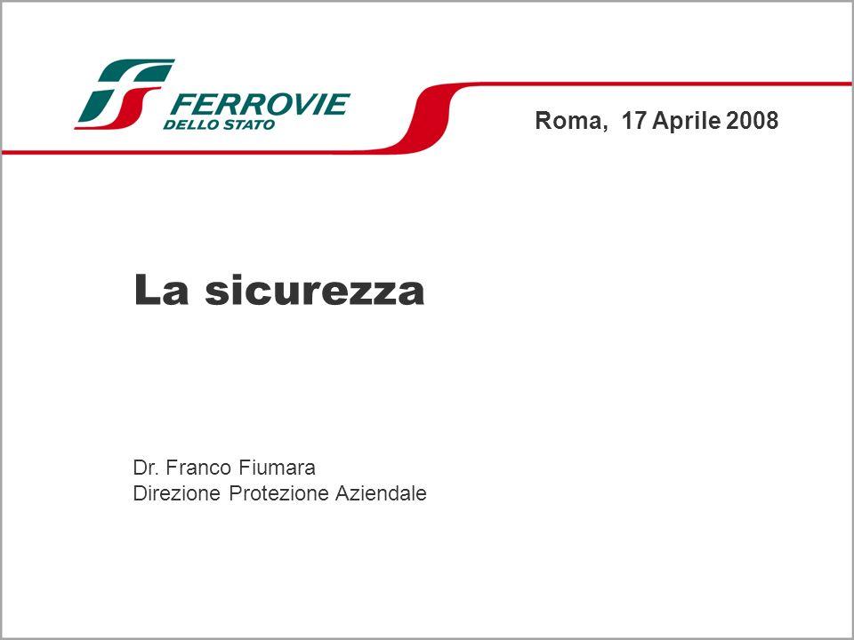 La sicurezza Roma, 17 Aprile 2008 Dr. Franco Fiumara Direzione Protezione Aziendale