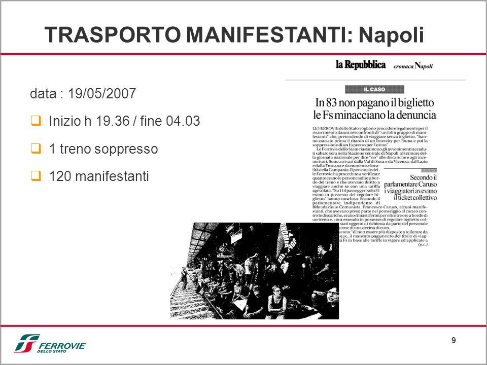 9 data : 19/05/2007 Inizio h 19.36 / fine 04.03 1 treno soppresso 120 manifestanti TRASPORTO MANIFESTANTI: Napoli