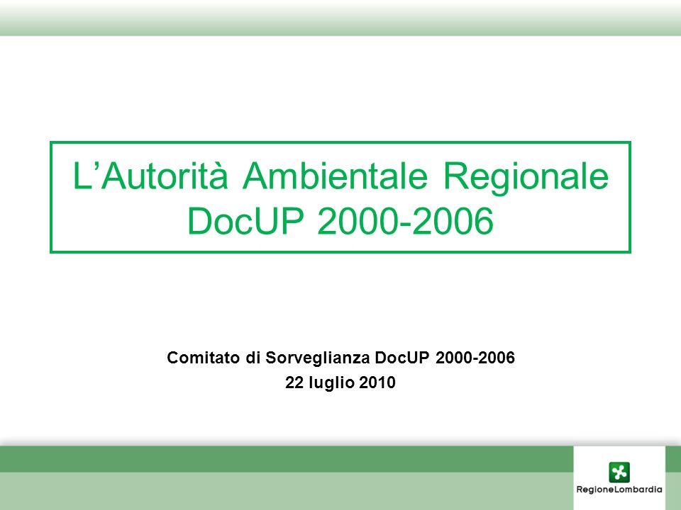 LAutorità Ambientale Regionale DocUP 2000-2006 Comitato di Sorveglianza DocUP 2000-2006 22 luglio 2010