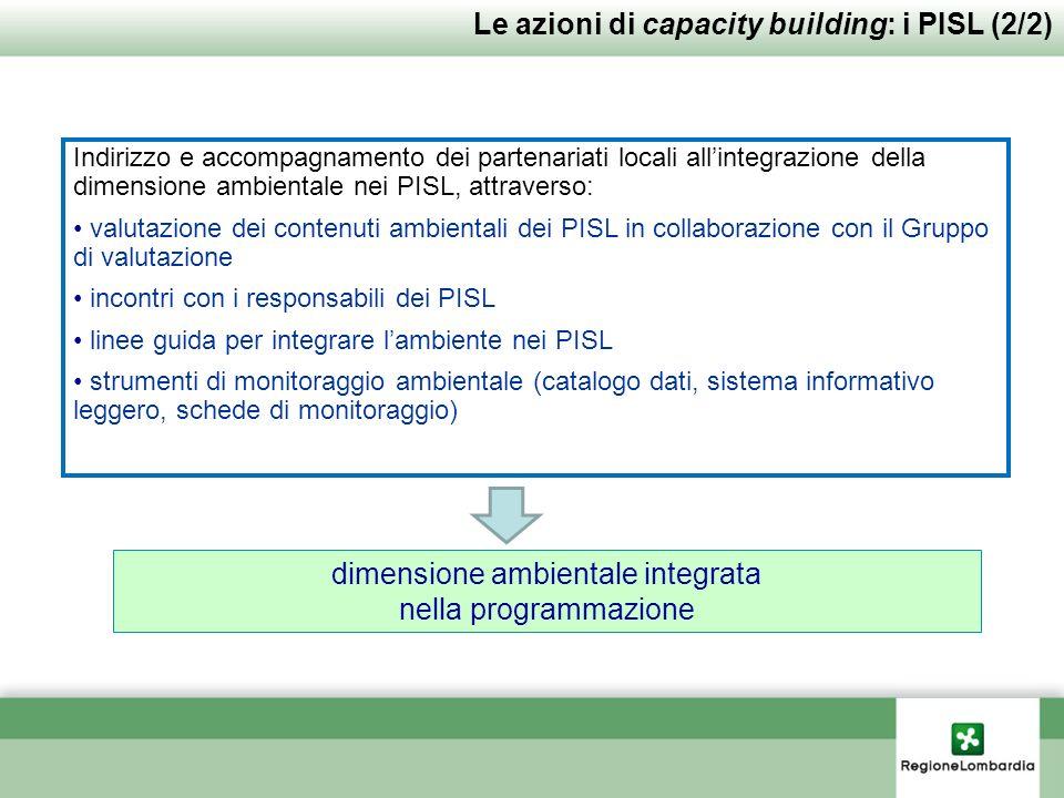 Indirizzo e accompagnamento dei partenariati locali allintegrazione della dimensione ambientale nei PISL, attraverso: valutazione dei contenuti ambientali dei PISL in collaborazione con il Gruppo di valutazione incontri con i responsabili dei PISL linee guida per integrare lambiente nei PISL strumenti di monitoraggio ambientale (catalogo dati, sistema informativo leggero, schede di monitoraggio) Le azioni di capacity building: i PISL (2/2) dimensione ambientale integrata nella programmazione