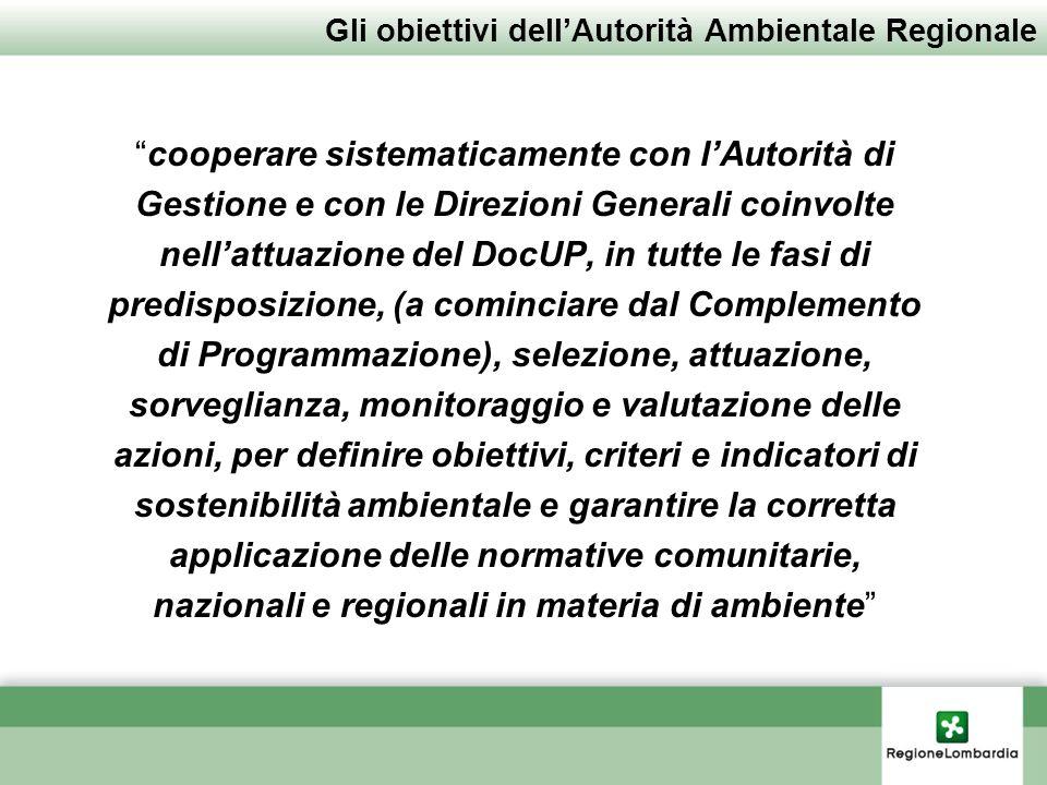 Gli obiettivi dellAutorità Ambientale Regionale cooperare sistematicamente con lAutorità di Gestione e con le Direzioni Generali coinvolte nellattuazi