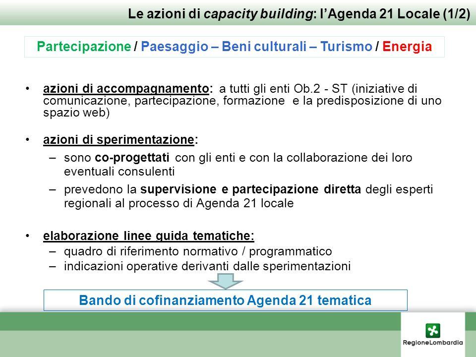 azioni di accompagnamento: a tutti gli enti Ob.2 - ST (iniziative di comunicazione, partecipazione, formazione e la predisposizione di uno spazio web)