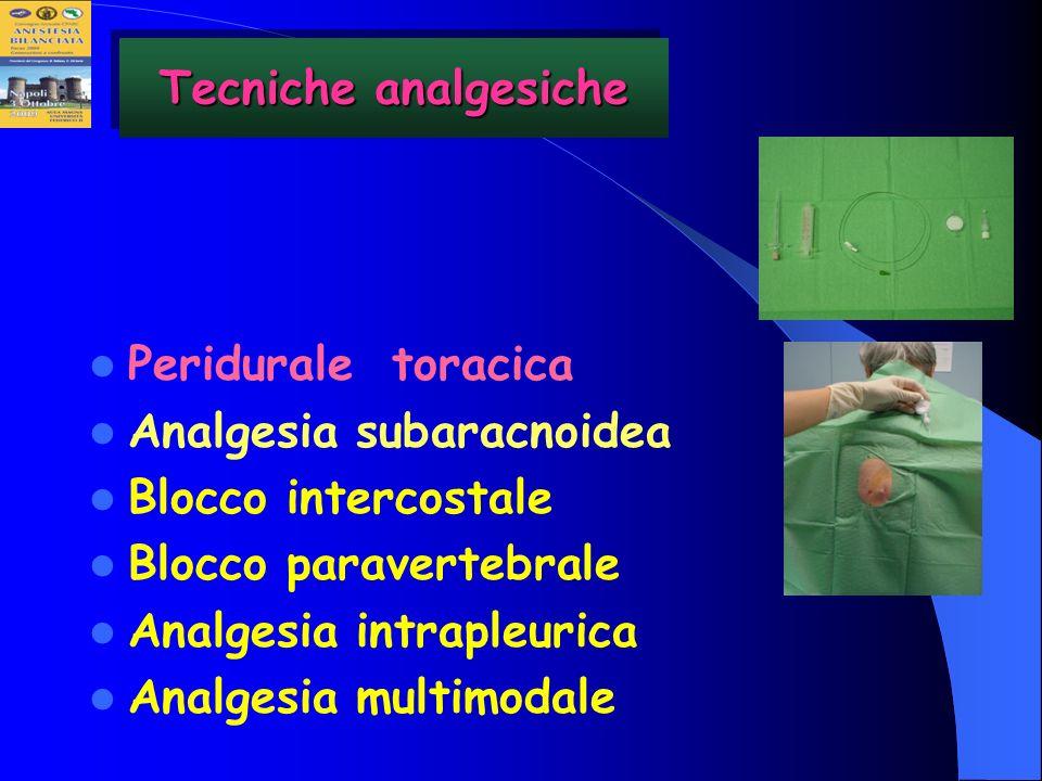 Peridurale toracica Analgesia subaracnoidea Blocco intercostale Blocco paravertebrale Analgesia intrapleurica Analgesia multimodale Tecniche analgesic