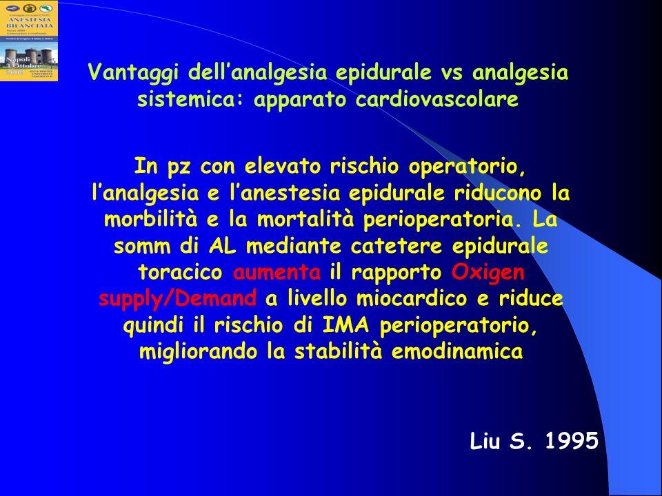 Vantaggi dellanalgesia epidurale vs analgesia sistemica: apparato cardiovascolare In pz con elevato rischio operatorio, lanalgesia e lanestesia epidur