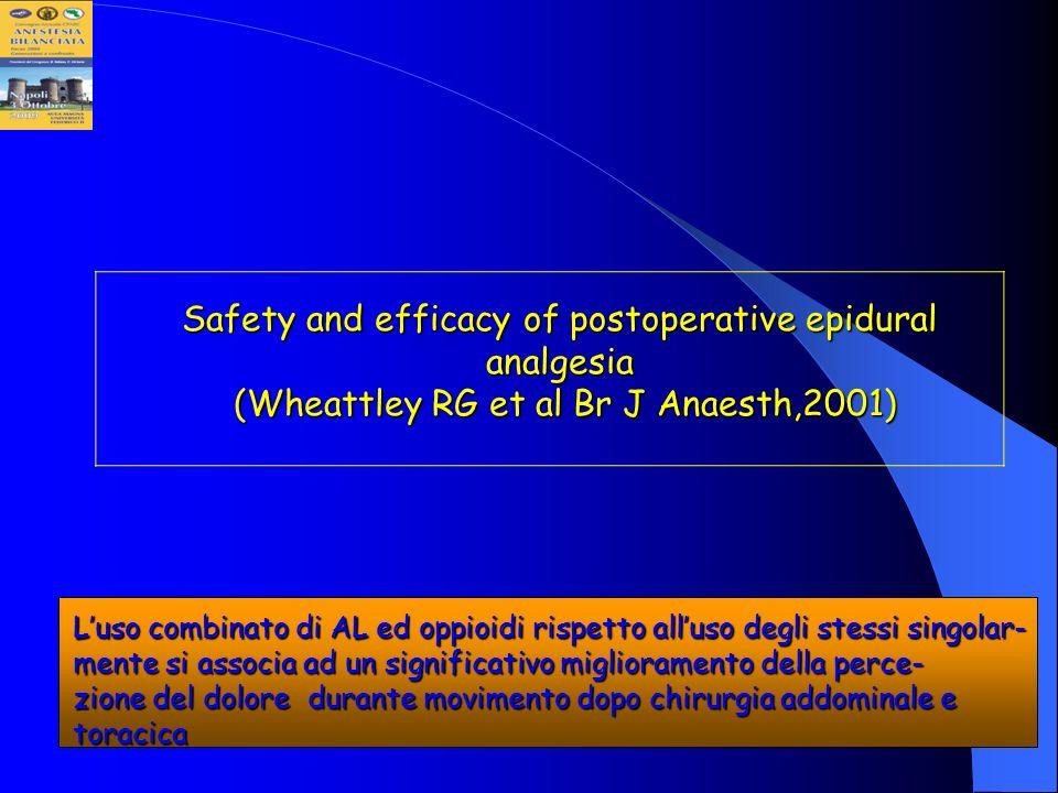 Safety and efficacy of postoperative epidural analgesia (Wheattley RG et al Br J Anaesth,2001) Luso combinato di AL ed oppioidi rispetto alluso degli
