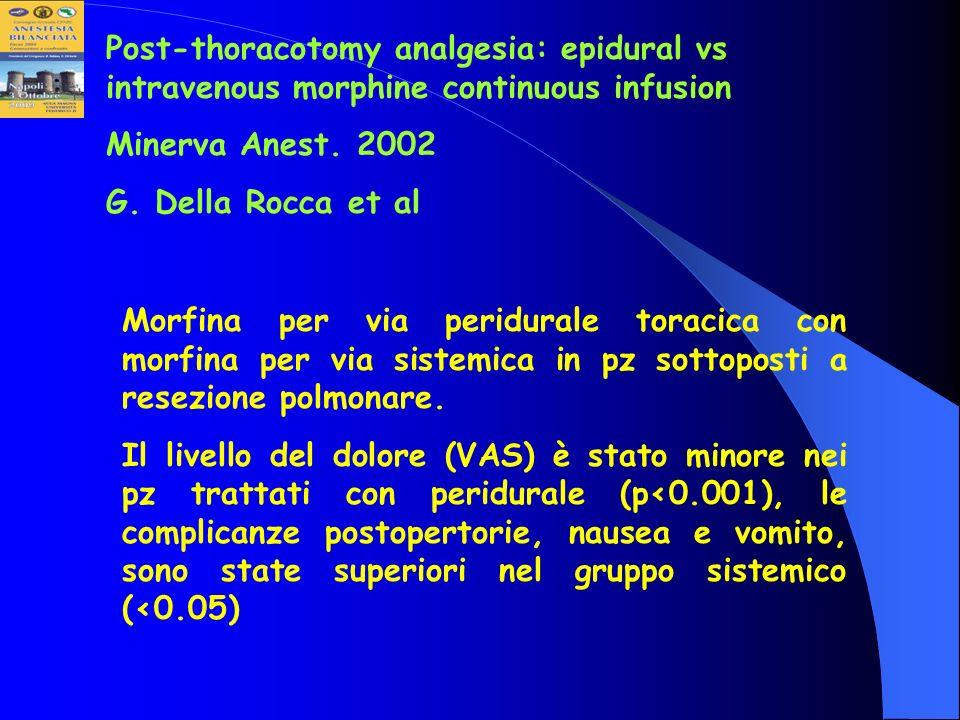 Post-thoracotomy analgesia: epidural vs intravenous morphine continuous infusion Minerva Anest. 2002 G. Della Rocca et al Morfina per via peridurale t