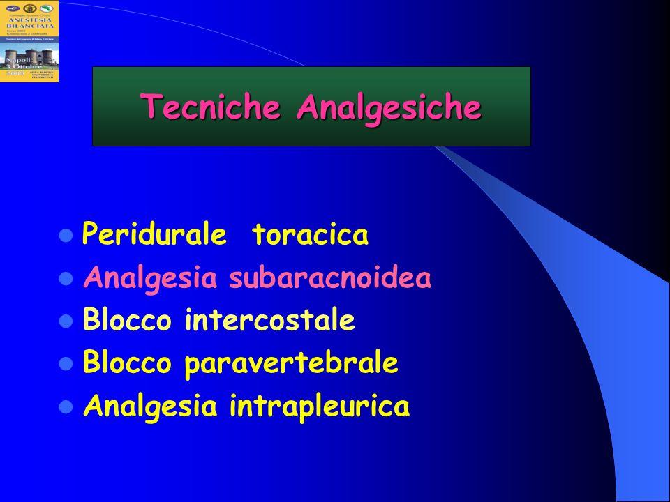 Peridurale toracica Analgesia subaracnoidea Blocco intercostale Blocco paravertebrale Analgesia intrapleurica Tecniche Analgesiche