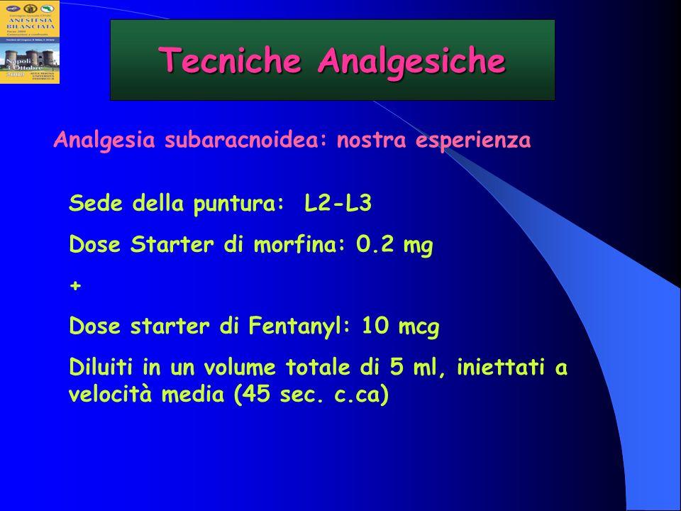 Sede della puntura: L2-L3 Dose Starter di morfina: 0.2 mg + Dose starter di Fentanyl: 10 mcg Diluiti in un volume totale di 5 ml, iniettati a velocità