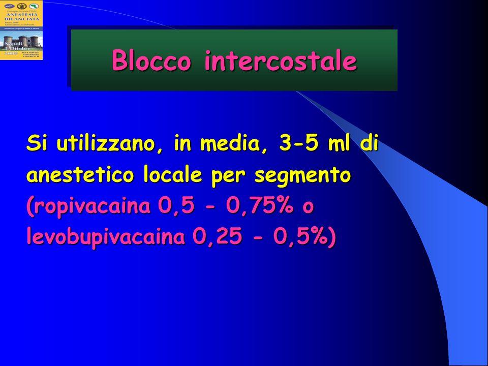 Si utilizzano, in media, 3-5 ml di anestetico locale per segmento (ropivacaina 0,5 - 0,75% o levobupivacaina 0,25 - 0,5%) Blocco intercostale