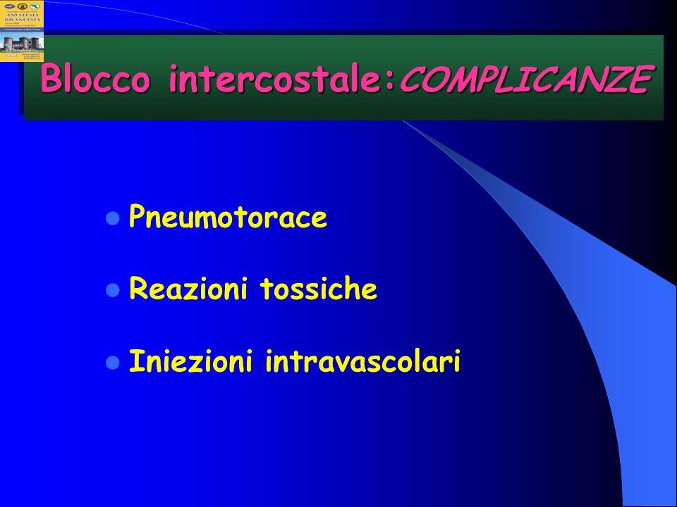 Pneumotorace Reazioni tossiche Iniezioni intravascolari Blocco intercostale: COMPLICANZE