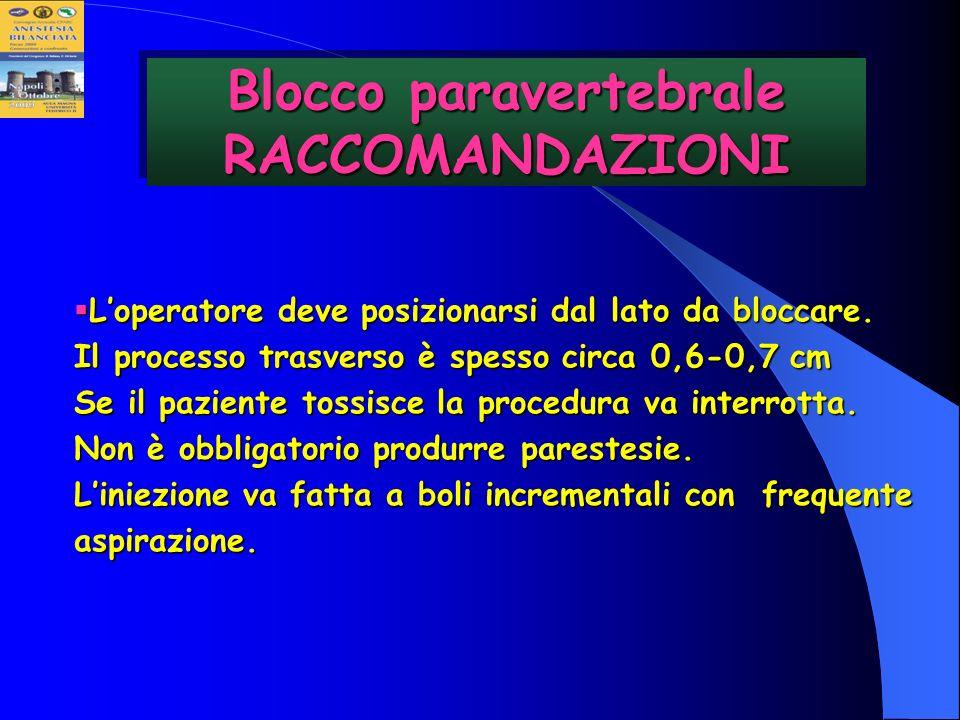 Blocco paravertebrale RACCOMANDAZIONI Loperatore deve posizionarsi dal lato da bloccare. Il processo trasverso è spesso circa 0,6-0,7 cm Se il pazient