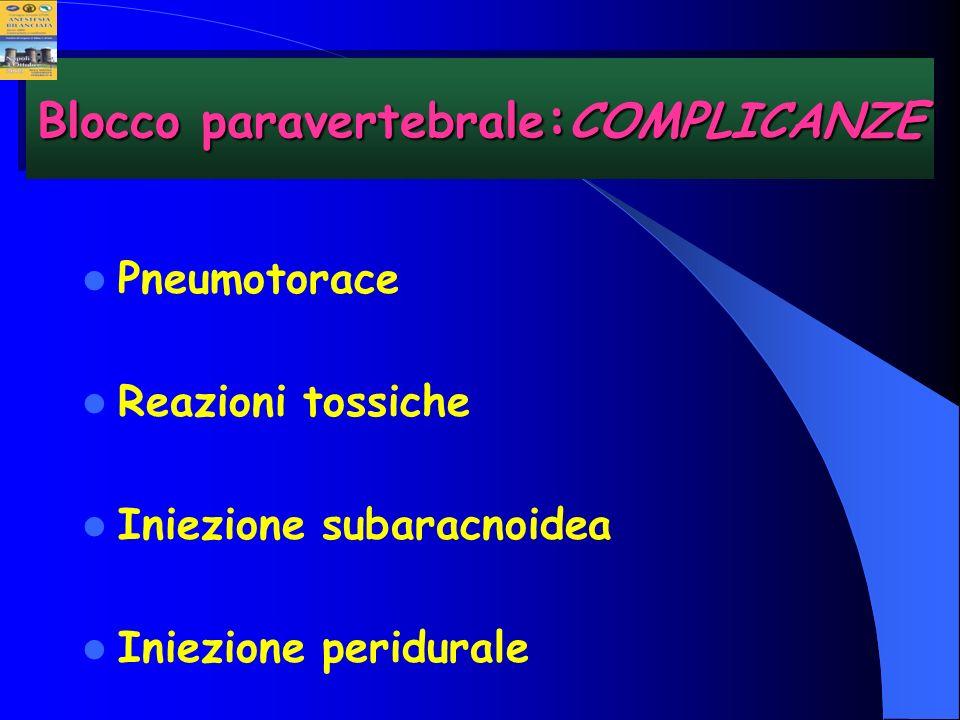 Pneumotorace Reazioni tossiche Iniezione subaracnoidea Iniezione peridurale Blocco paravertebrale : COMPLICANZE