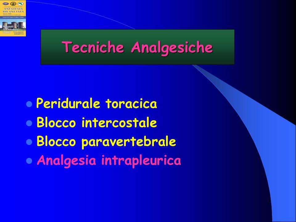 Peridurale toracica Blocco intercostale Blocco paravertebrale Analgesia intrapleurica Tecniche Analgesiche