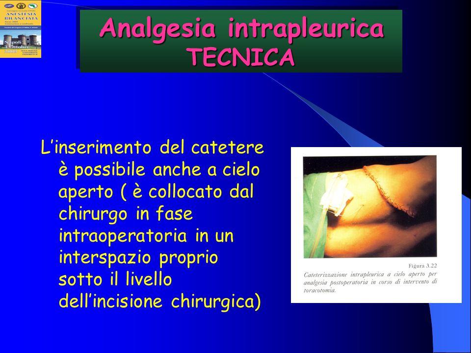 Linserimento del catetere è possibile anche a cielo aperto ( è collocato dal chirurgo in fase intraoperatoria in un interspazio proprio sotto il livel