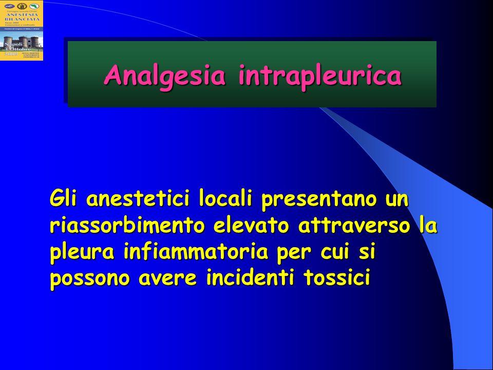 Gli anestetici locali presentano un riassorbimento elevato attraverso la pleura infiammatoria per cui si possono avere incidenti tossici Analgesia int