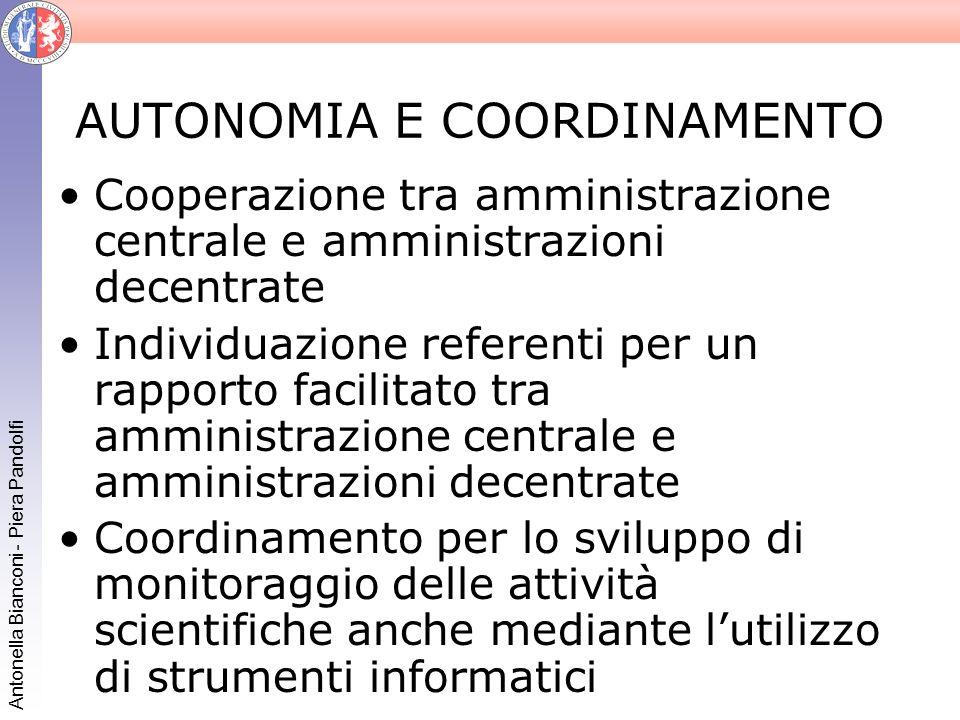 Antonella Bianconi - Piera Pandolfi AUTONOMIA E COORDINAMENTO Cooperazione tra amministrazione centrale e amministrazioni decentrate Individuazione re